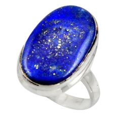 17.42cts solitaire natural blue lapis lazuli 925 silver ring size 8.5 r41982