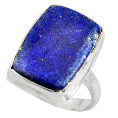 15.44cts solitaire natural blue lapis lazuli 925 silver ring size 7.5 r41986