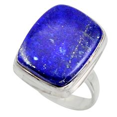 16.15cts solitaire natural blue lapis lazuli 925 silver ring size 7.5 r41988