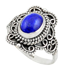 3.01cts solitaire natural blue lapis lazuli 925 silver ring size 7.5 r41995