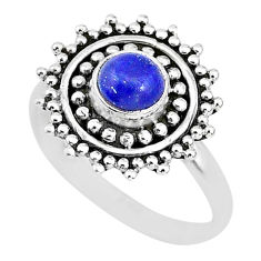 0.86cts solitaire natural blue lapis lazuli 925 silver ring size 5 t3145