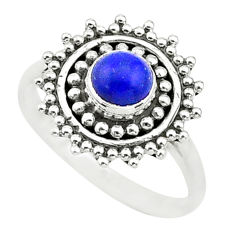 0.81cts solitaire natural blue lapis lazuli 925 silver ring size 5 t3645