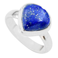 4.82cts heart blue lapis lazuli 925 silver handmade ring size 6 t21751