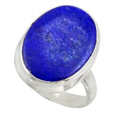 14.72cts solitaire natural blue lapis lazuli 925 silver ring size 7 r41983