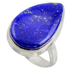 16.54cts solitaire natural blue lapis lazuli 925 silver ring size 7 r41989