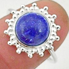 5.51cts solitaire natural blue lapis lazuli 925 silver ring size 7 t1581