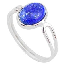 3.53cts solitaire natural blue lapis lazuli 925 silver ring size 7 t1646