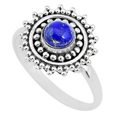 0.86cts solitaire natural blue lapis lazuli 925 silver ring size 7 t3141