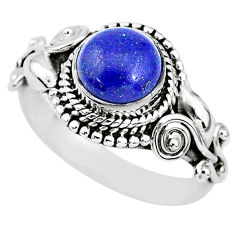2.72cts solitaire natural blue lapis lazuli 925 silver ring size 7 t3147