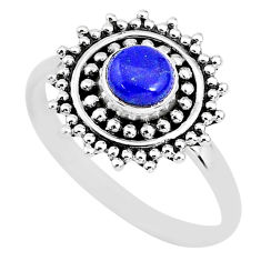 0.87cts solitaire natural blue lapis lazuli 925 silver ring size 7 t3155