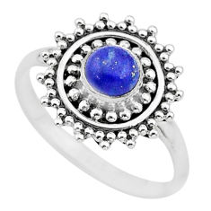 0.79cts solitaire natural blue lapis lazuli 925 silver ring size 7 t3646