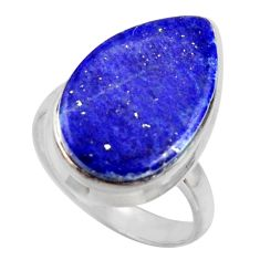 14.56cts solitaire natural blue lapis lazuli 925 silver ring size 8 r41990