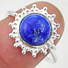 5.47cts solitaire natural blue lapis lazuli 925 silver ring size 8 t1582