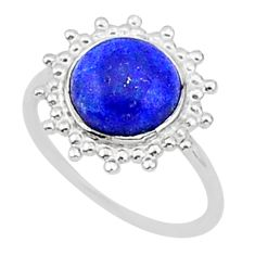 2.15cts solitaire natural blue lapis lazuli 925 silver ring size 8 t1605