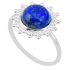 5.92cts solitaire natural blue lapis lazuli 925 silver ring size 8 t1608