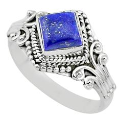 1.17cts solitaire natural blue lapis lazuli 925 silver ring size 8 t3641