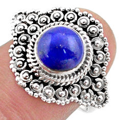 3.48cts solitaire natural blue lapis lazuli 925 silver ring size 8 t46132