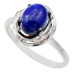 3.29cts solitaire natural blue lapis lazuli 925 silver ring size 9 r40632