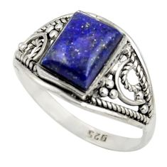 2.98cts solitaire natural blue lapis lazuli 925 silver ring size 9 r41943