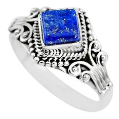 1.16cts solitaire natural blue lapis lazuli 925 silver ring size 9 t3152