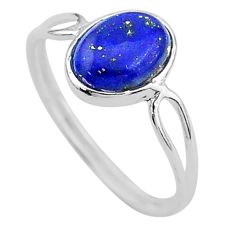 3.91cts solitaire natural blue lapis lazuli 925 silver ring size 5.5 t1628