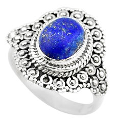4.40cts solitaire natural blue lapis lazuli 925 silver ring size 7.5 t20126