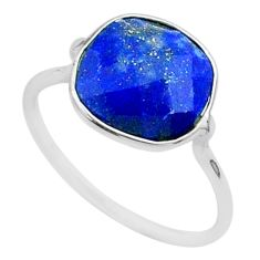 4.93cts solitaire natural blue lapis lazuli 925 silver ring size 7.5 t50693
