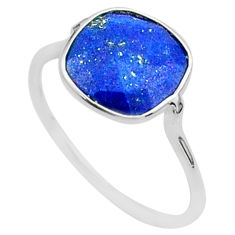 4.97cts solitaire natural blue lapis lazuli 925 silver ring size 8.5 t50695