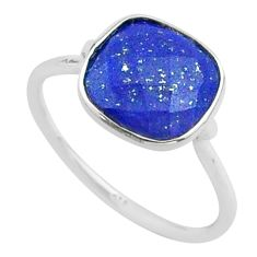 4.93cts solitaire natural blue lapis lazuli 925 silver ring size 8.5 t50722