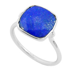 4.49cts solitaire natural blue lapis lazuli cushion silver ring size 6 t50766