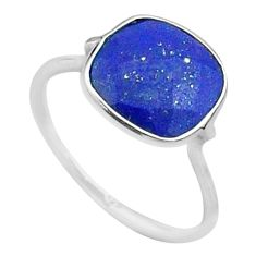 4.47cts solitaire natural blue lapis lazuli cushion silver ring size 7 t50692