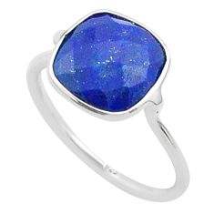 5.08cts solitaire natural blue lapis lazuli cushion silver ring size 8 t50745