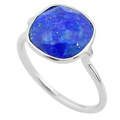 5.08cts solitaire natural blue lapis lazuli cushion silver ring size 6.5 t50746