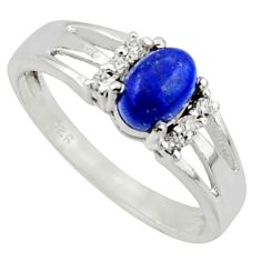 1.95cts solitaire natural blue lapis lazuli oval 925 silver ring size 8.5 r40795