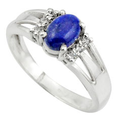 2.09cts solitaire natural blue lapis lazuli oval 925 silver ring size 7.5 r41886