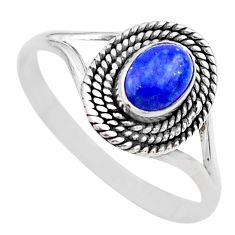 1.01cts solitaire natural blue lapis lazuli oval 925 silver ring size 10 t26189
