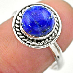 2.72cts solitaire natural blue lapis lazuli round 925 silver ring size 7 t26262