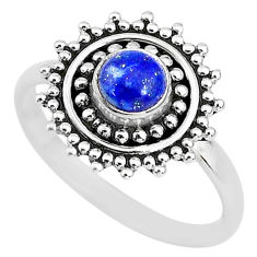 0.85cts solitaire natural blue lapis lazuli round 925 silver ring size 7 t3146