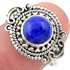 3.11cts solitaire natural blue lapis lazuli round 925 silver ring size 8 t46170