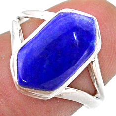 4.71cts solitaire natural blue lapis lazuli silver hexagon ring size 7 t48505