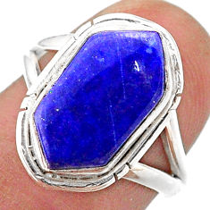 5.54cts solitaire natural blue lapis lazuli silver hexagon ring size 7 t48509