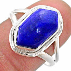 5.54cts solitaire natural blue lapis lazuli silver hexagon ring size 8 t48504