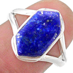 5.54cts solitaire natural blue lapis lazuli silver hexagon ring size 8 t48512