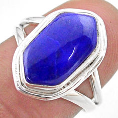 5.09cts solitaire natural blue lapis lazuli silver hexagon ring size 6.5 t48671