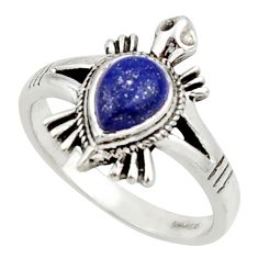 1.63cts solitaire natural blue lapis lazuli silver tortoise ring size 7 r40646