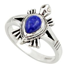 1.51cts solitaire natural blue lapis lazuli silver tortoise ring size 8 r40643