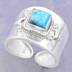 1.21cts solitaire natural blue larimar 925 silver adjustable ring size 6 t32132