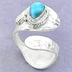 2.01cts solitaire natural blue larimar 925 silver adjustable ring size 8 t32134