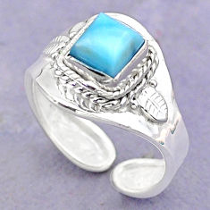 1.39cts solitaire natural blue larimar 925 silver adjustable ring size 8 t32137
