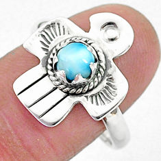 0.80cts solitaire natural blue larimar 925 silver bird ring size 9 t6373